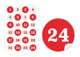 Adventskalenderzahlen - Punkte - rot weiß