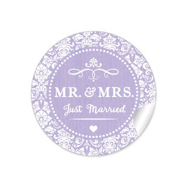 """MR. and MRS.  - Just married"" - Ornamente - lila"