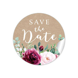"""Save the Date"" - Kraftpapier Look Rosen rot rosa"