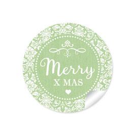 """Merry X mas"" -  Vintage Ornamente - grün"