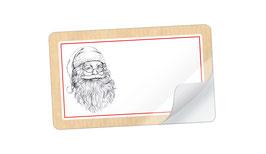 21 Sticker rechteckig klein -Weihnachtsmann Natur weiß - mit Freitextfeld
