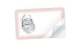 21 Sticker rechteckig klein -Weihnachtsmann rosa weiß - mit Freitextfeld