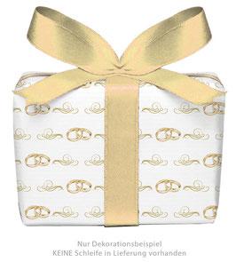 3 Bögen Geschenkpapier groß - Eheringe GOLD - gedruckt auf PEFC zertifiziertem Papier, 50 x 70 cm