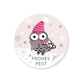 """Frohes Fest"" - Eule - beige"