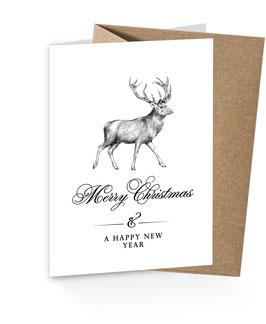 """Weihnachtshirsch- """"Merry Christmas"""" schwarz weiß"""