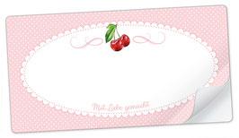 """10 Sticker rechteckig groß -""""Mit Liebe gemacht""""- Kirsche rosa - mit Freitextfeld"""