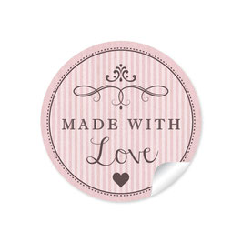 """Made with Love""- Vintage Retro Style - rosa"