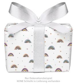 3 Bögen Geschenkpapier - Regenbogen weiß- gedruckt auf PEFC zertifiziertem Papier, 50 x 70 cm