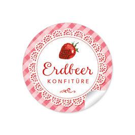 """""""Erdbeer Konfitüre""""- kariert -rot"""