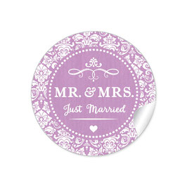 """MR. and MRS.  - Just married"" - Ornamente - dunkel lila"