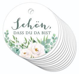 12 ANHÄNGER • Schön, dass du da bist • Boho Rosen grün weiß
