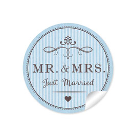 """MR. and MRS.  - Just married"" - Vintage Retro - blau"