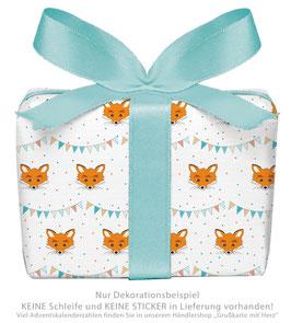 3 Bögen Geschenkpapier groß - FUCHS GIRLANDE - BUNT ORANGE