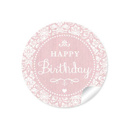 """Happy Birthday"" - Shabby Chic - rosa"