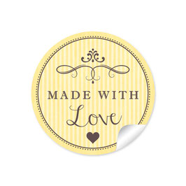 """Made with Love""- Vintage Retro Style - gelb"