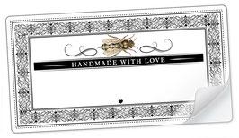 """10 Sticker rechteckig groß -""""Handmade with Love""""- Biene Ornamente - mit Freitextfeld"""