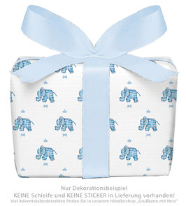 3 Bögen Geschenkpapier groß - ELEFANT - BLAU WEIß