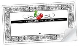 """10 Sticker rechteckig groß -""""Handmade with Love""""- Kirsche Ornamente - mit Freitextfeld"""