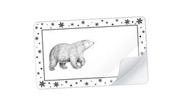 21 Sticker rechteckig klein -Eisbär Snow schwarz weiß - mit Freitextfeld