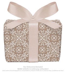 3 Bögen Geschenkpapier groß - Ornamente - braun