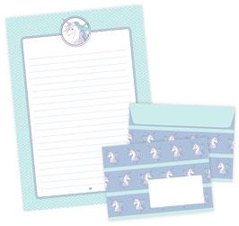 Briefpapier-Set EINHORN • 22 Blatt Briefpapiere A4 + 11 Briefumschläge C6