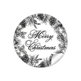 """""""Merry Christmas""""- Weihnachtsskranz - schwarz weiß"""