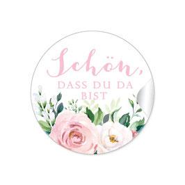 """""""Schön, dass du da bist"""" - Rosen Zweige Grün rosa weiß"""