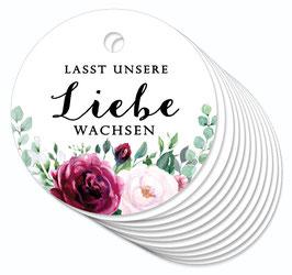 12 ANHÄNGER • Lasst unsere Liebe wachsen • Boho Rosen rot rosa