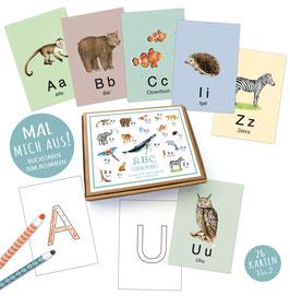 NEU! MAL MICH AUS! 26  ABC Alphabet Karten Lernkarten Buchstaben Lernspiel Safari  Zootiere Waldtiere Tiere  • A6 Karten