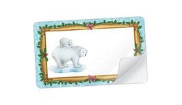 21 Sticker rechteckig klein - Eisbär mit Baby Nostalgie türkis- mit Freitextfeld