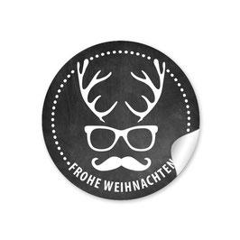 """""""Frohe Weihnachten""""  - Hipster Hirsch - schwarz"""