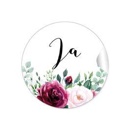 """Ja"" - Vintage Retro - Eukalyptus Rosen rot rosa grün weiß"