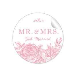 """MR. and MRS.  - Just married"" - Rosen- rosa"