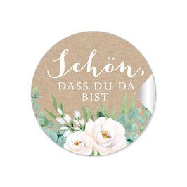 """""""Schön, dass du da bist"""" - Kraftpapier Look Rosen Zweige Grün weiß"""