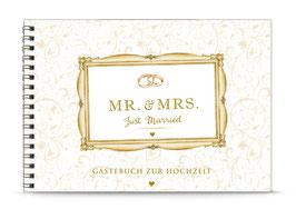 """DIN A5 GÄSTEBUCH ZUR HOCHZEIT """"MR. & MRS. Just married""""  zum Selbstbeschreiben creme Spiralgebunden)"""