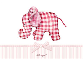 """It´s a girl!"" - Elefant - Rosa"
