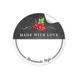MADE WITH LOVE- HOMEMADE STYLE JOHANNISBEERE - Kreidetafel schwarz weiß - mit Freitextfeld BREIT