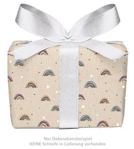 3 Bögen Geschenkpapier - Regenbogen beige- gedruckt auf PEFC zertifiziertem Papier, 50 x 70 cm