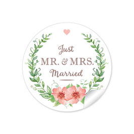 """MR. and MRS.  - Just married"" - Rosenkranz- apricot / grün"