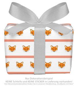 3 Bögen Geschenkpapier groß - FUCHS GESTREIFT - ORANGE