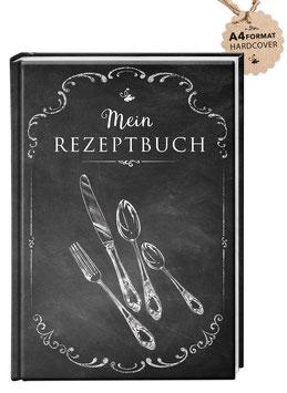 """DIN A4 KREATIV DIY KOCHBUCH """"Mein Rezeptbuch"""" zum Selbstbeschreiben schwarz Kreidetafel (Hardcover)"""