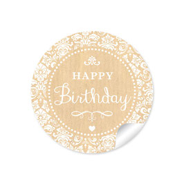 """Happy Birthday"" - Shabby Chic - natur"