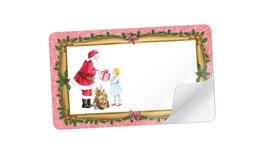 21 Sticker rechteckig klein - Weihnachtsmann Nostalgie rosa- mit Freitextfeld