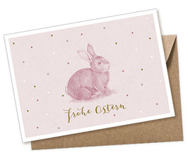 POSTKARTE + UMSCHLAG • HASE ROSA PASTELL FROHE OSTERN