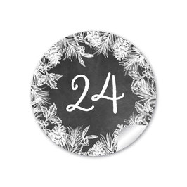 Adventskalenderzahlen - Weihnachtskranz - Schwarz Kreidetafel Look