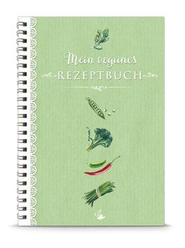 """DIN A5 KREATIV DIY KOCHBUCH """"Mein veganes Rezeptbuch"""" zum Selbstbeschreiben grün (Spiralgebunden)"""
