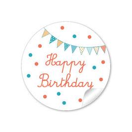 """Happy Birthday"" -  Girlande - orange grün"