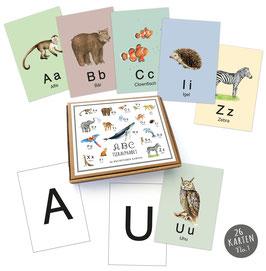 NEU!  26  ABC Alphabet Karten Lernkarten Buchstaben Lernspiel Safari  Zootiere Waldtiere Tiere  • A6 Karten