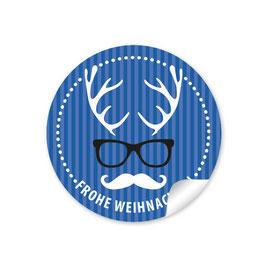 """""""Frohe Weihnachten""""  - Hipster Hirsch - dunkelblau"""
