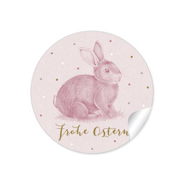 24 STICKER: Osterhase - ROSA PASTELL - Frohe Ostern